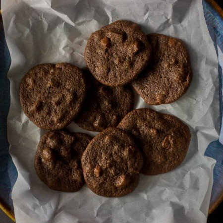 Double Chocolate Apricot Cookies - made with healthy teff flour and naturally gluten free!   saltedplains.com