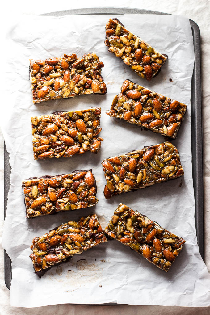 nut and seed bars on pan