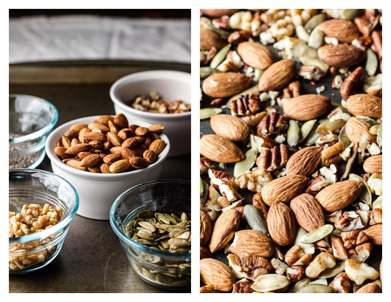nuts and seeds in bowls