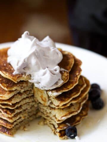 gluten-free pancakes with blueberry-honey whip | saltedplains.com