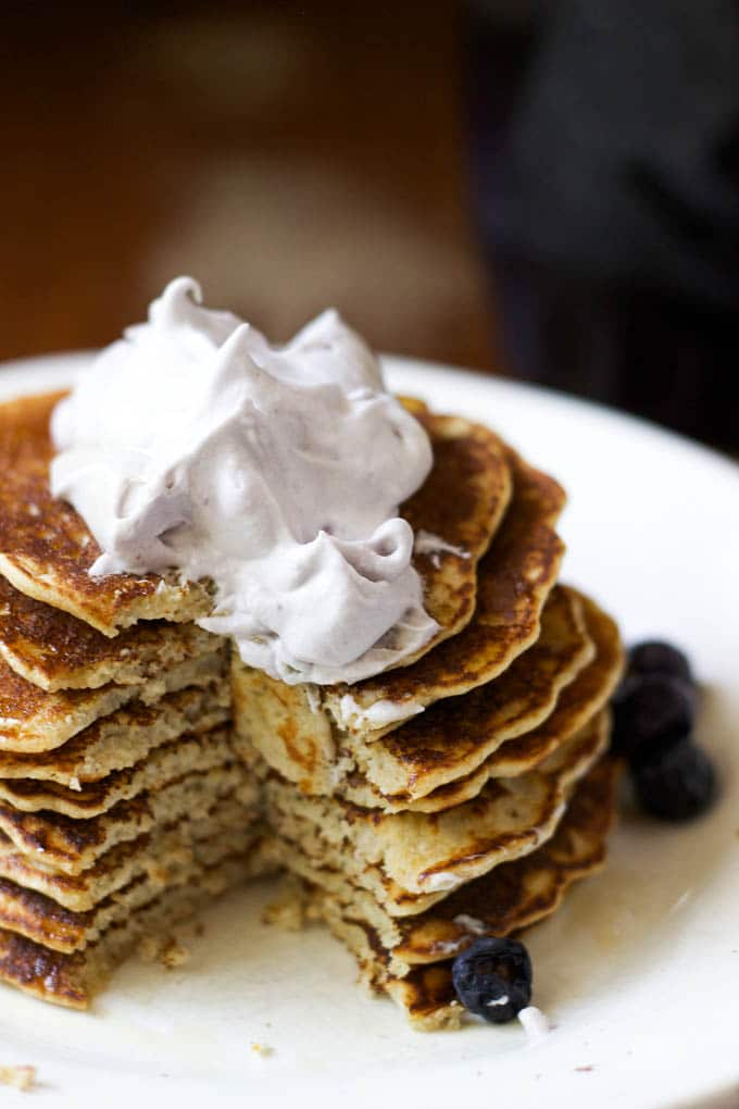 gluten-free pancakes with blueberry-honey whip | saltedplains.com