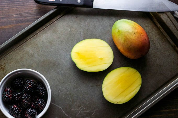 Coconut Chia Pudding with Mango & Blackberries - super simple breakfast! Gluten-free + Vegan | saltedplains.com