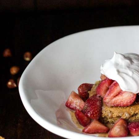 Hazelnut Shortcakes with Caramel Strawberries {gluten-free, vegan, and refined sugar-free!} | saltedplains.com