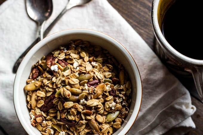 sorghum pecan granola in bowl