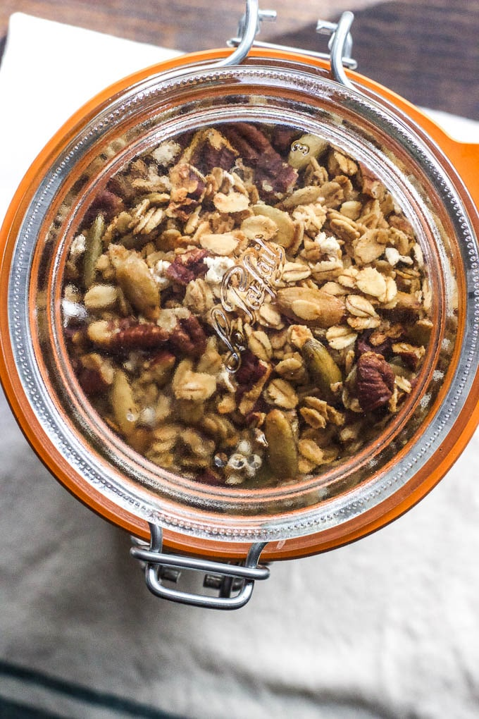 Whole Grain Sorghum Pecan Granola is easy to make and is gluten-free and vegan! |saltedplains.com