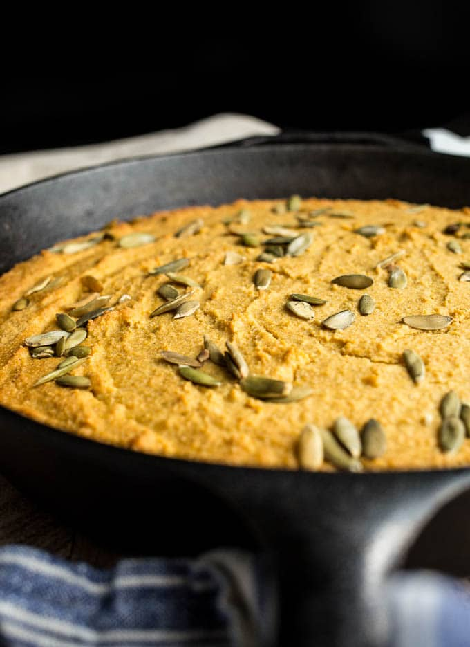Gluten-Free Sweet Potato Cornbread recipe with a dairy-free option | saltedplains.com