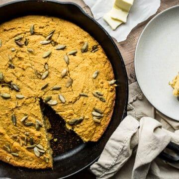 Gluten-Free Sweet Potato Cornbread recipe with a dairy-free option | saltedplains.com
