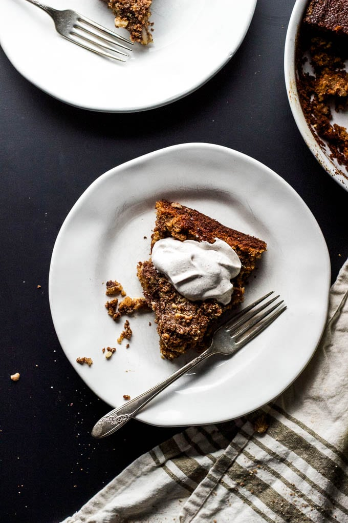 pear + walnut buckle with spiced whiskey whip via salted plains