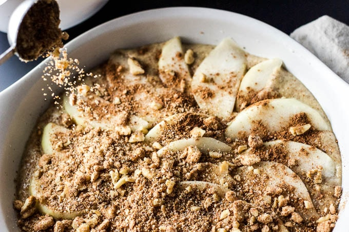 Pear & Walnut Buckle with Cinnamon-Whiskey Whip - an EASY rustic fall dessert! #glutenfree #refinedsugarfree | saltedplains.com
