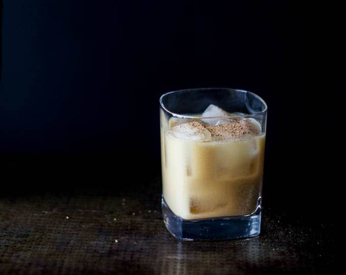 vegan bourbon milk punch #cocktail | saltedplains.com