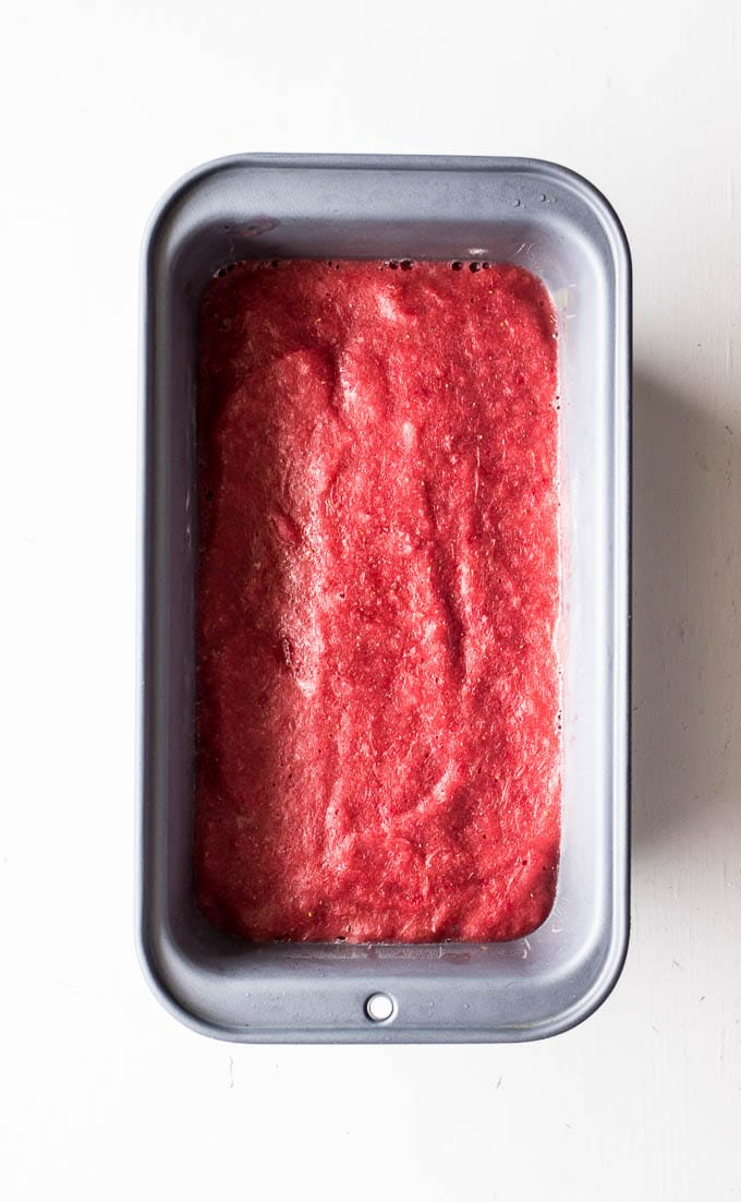 Strawberry Rhubarb Sorbet | saltedplains.com #glutenfree