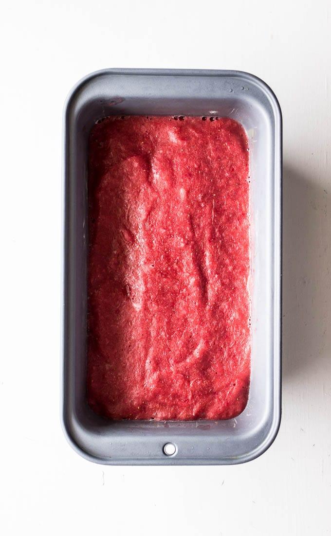 pink sorbet in loaf pan
