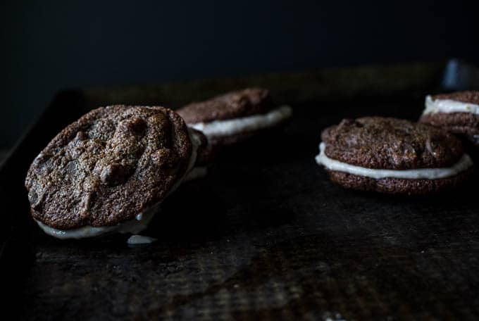 Double Chocolate Chip Cookies with Strawberry-Coconut Cream | saltedplains.com #glutenfree #paleo