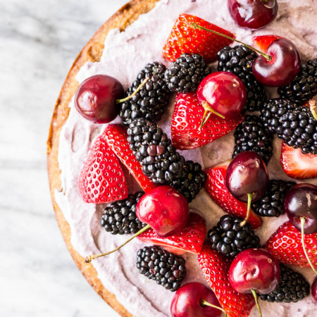 Coconut Cake with Blackberry-Coconut Cream and Mixed Berries #glutenfree | saltedplains.com