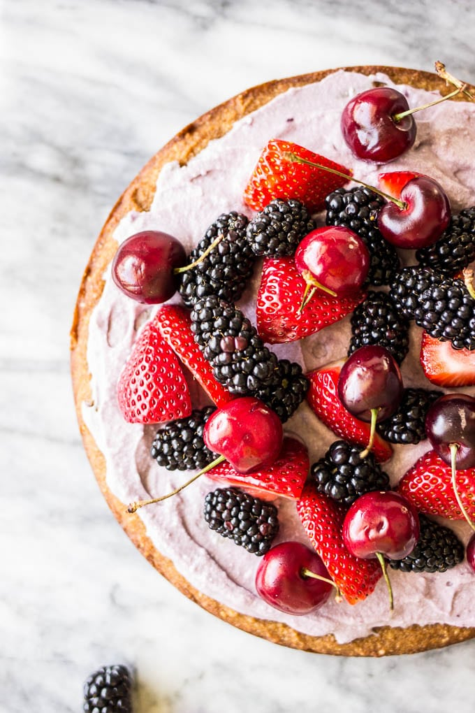Coconut Cake With Blackberry Coconut Whipped Cream And