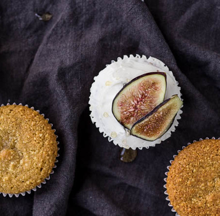 Olive Oil Cupcakes with Figs and Honey (gluten-free, dairy-free)