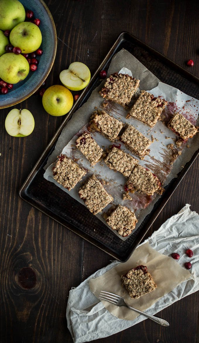 Gluten-Free Cranberry Apple Crumble Bars | saltedplains.com