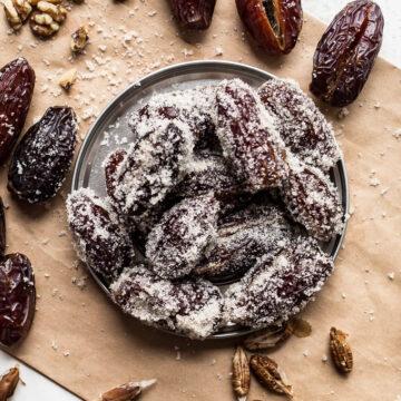 Sugared Walnut-Stuffed Dates (gluten-free, vegan) | saltedplains.com