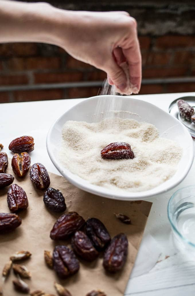 Sugared Walnut-Stuffed Dates (gluten-free, vegan) | saltedplains.com