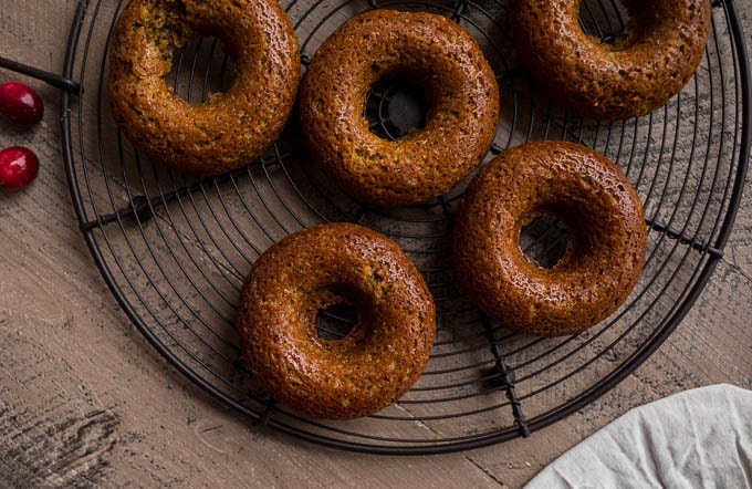 Gingerbread Cake Donuts with Cranberry Glaze (gluten-free, vegan) | saltedplains.com