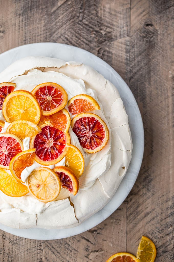 Pavlova with Mascarpone Coconut Cream and Candied Citrus (gluten-free) | saltedplains.com