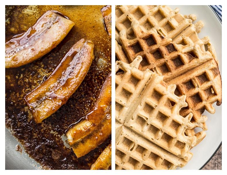 Gluten-Free Bananas Foster Waffles | saltedplains.com