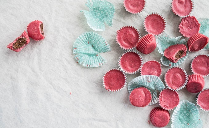 Strawberry Coconut Butter Cups with Chocolate-Almond Filling | saltedplains.com