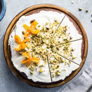 Pistachio Olive Oil Cake with Honeyed Kumquats (gluten-free, refined sugar-free) | saltedplains.com
