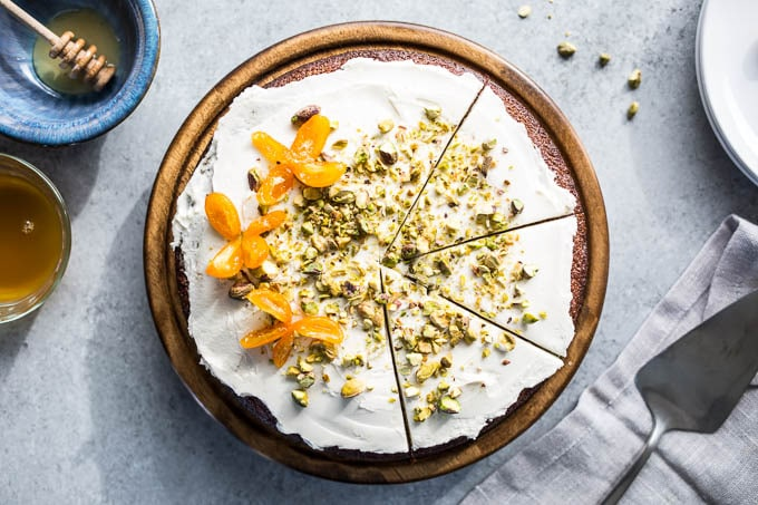 Pistachio Olive Oil Cake with Honeyed Kumquats (Gluten-Free) | saltedplains.com