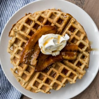 Gluten-Free Bananas Foster Waffles (refined sugar-free) | saltedplains.com