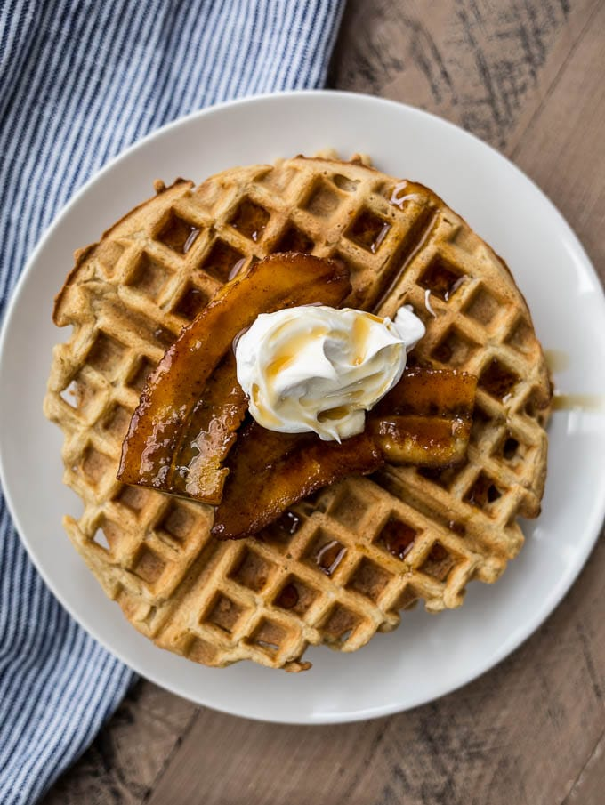 waffles with bananas on plate