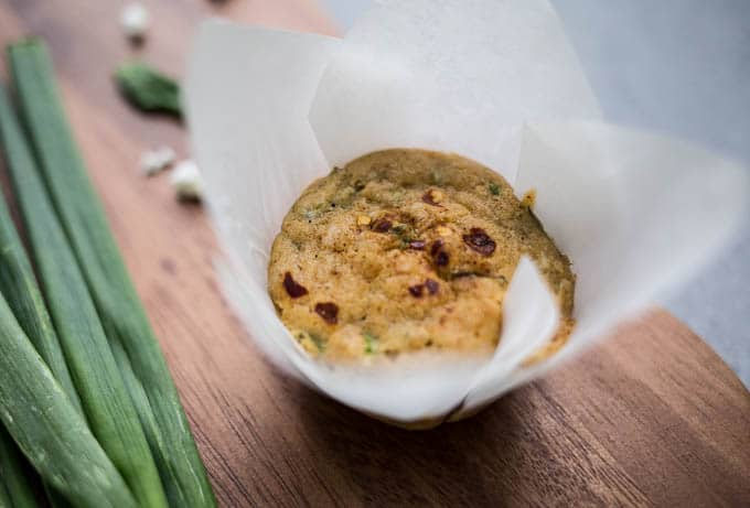Feta, Basil, and Spring Onion Muffins (gluten-free, dairy-free) | saltedplains.com