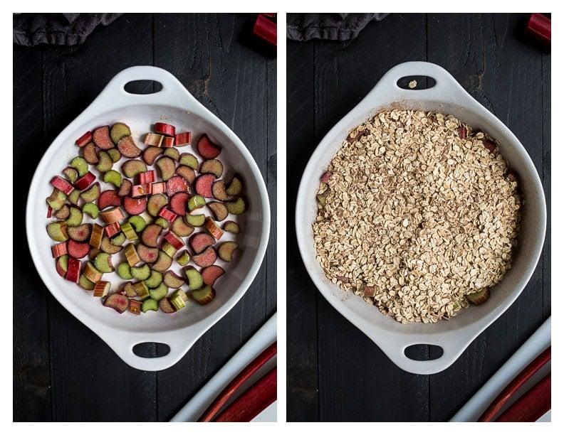Rhubarb Baked Oatmeal (gluten-free, vegan) | saltedplains.com