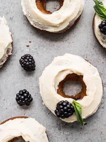Blackberry Cheesecake Donuts (gluten-free)   saltedplains.com