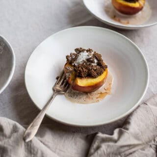 Honey-Roasted Peaches with Teff-Crusted Ice Cream (gluten-free, refined sugar-free) | saltedplains.com