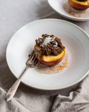 Honey-Roasted Peaches with Teff-Crusted Ice Cream (gluten-free, refined sugar-free)   saltedplains.com