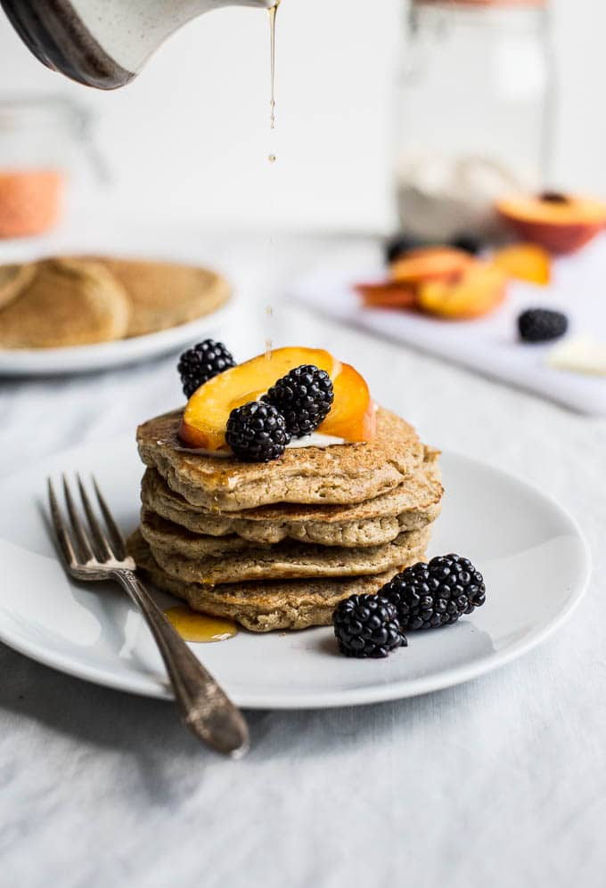 Red Lentil Pancakes that gluten-free, dairy-free, and a great source of protein and fiber! | saltedplains.com