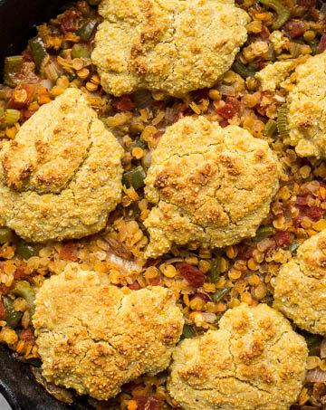 Cajun Lentil Cornbread Casserole Recipe (gluten-free, dairy-free) | saltedplains.com
