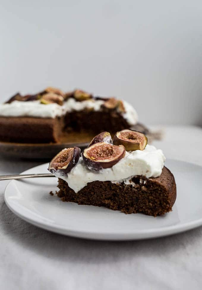 Chocolate-Almond Cake with Honey-Glazed Figs recipe (gluten-free, dairy-free)