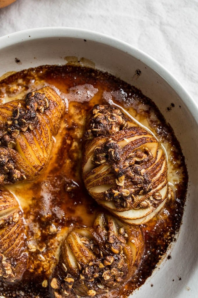 baked hasselback pears