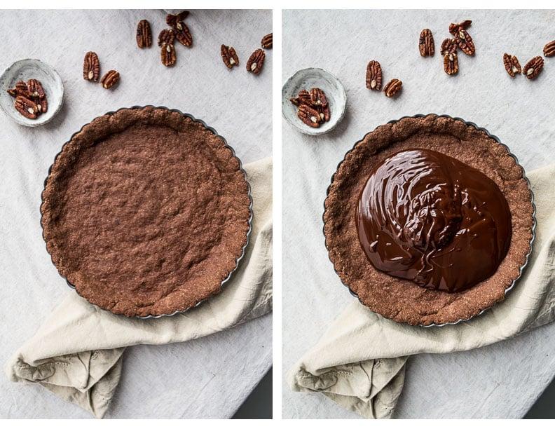 Gluten-Free Chocolate Pecan Tart (gluten-free, vegan) | saltedplains.com