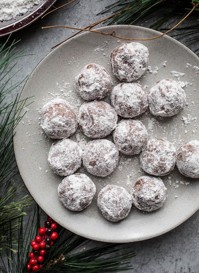 Chocolate Peppermint Snowball Cookies Recipe (gluten-free) | saltedplains.com