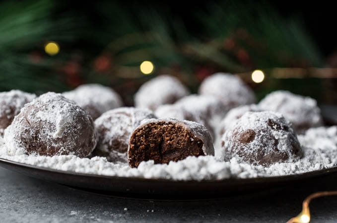 chocolate cookie balls with powdered sugar