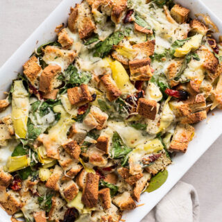 Spinach and Artichoke Strata (gluten-free) | saltedplains.com