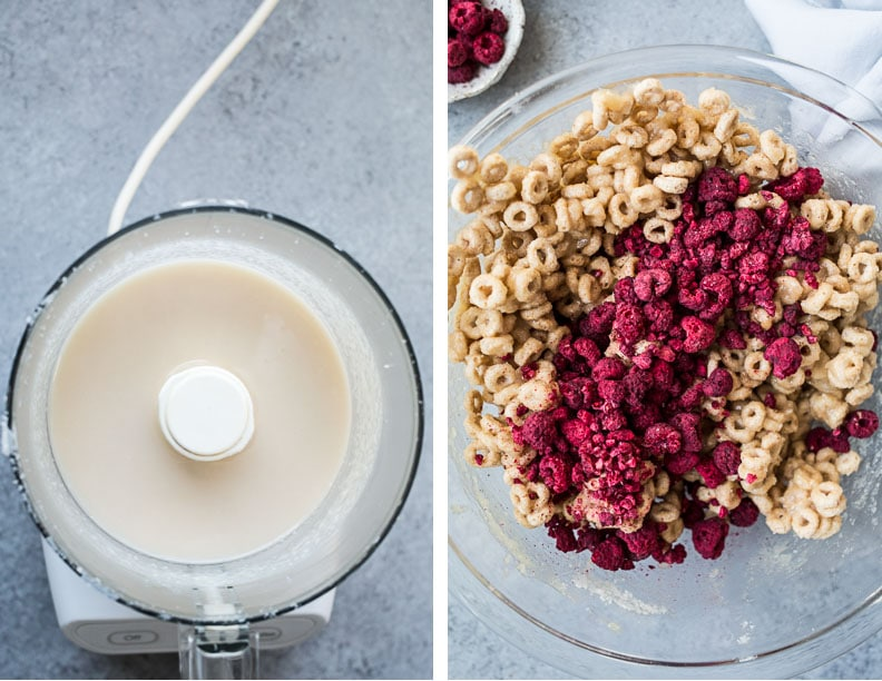 Raspberry Coconut Cereal Treats (gluten-free, vegan) | saltedplains.com