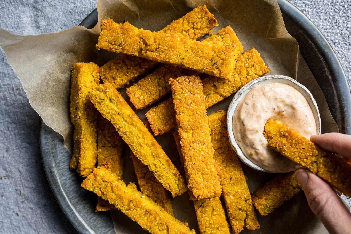 Baked Polenta Fries With Cajun Aioli Gluten Free Salted Plains