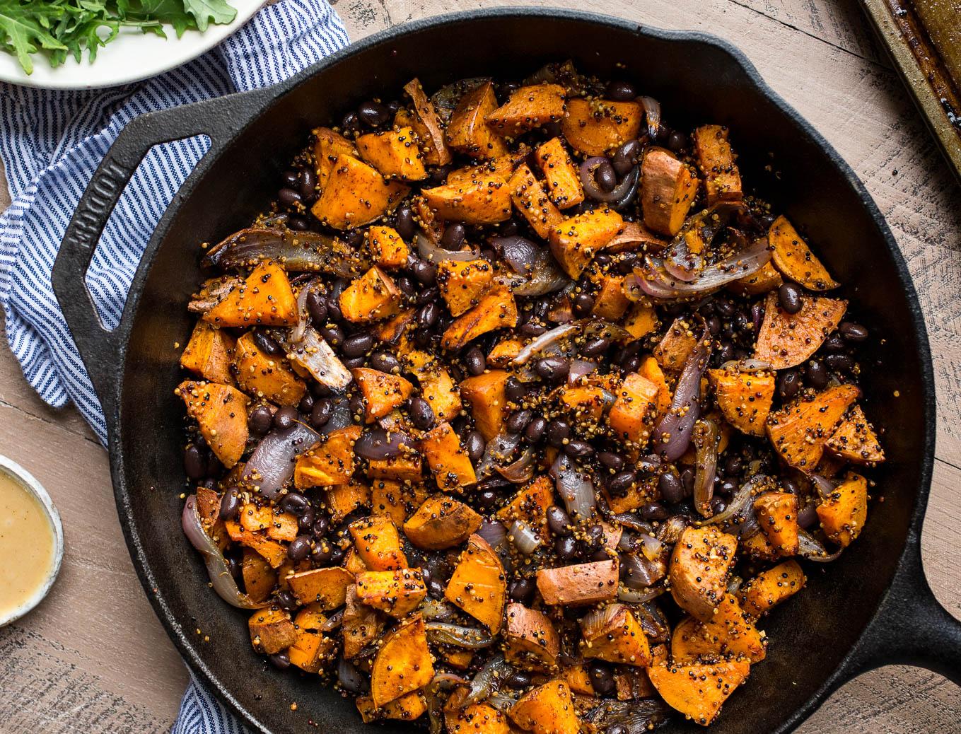 Roasted Sweet Potato, Black Bean, and Fried Quinoa Skillet | saltedplains.com