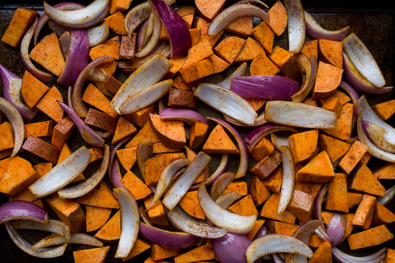 Roasted Sweet Potato, Black Bean, and Fried Quinoa Skillet | saltedplains.com