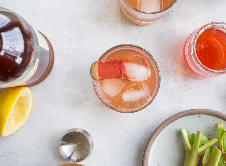 Rhubarb Bourbon Sour (refined sugar-free) | saltedplains.com