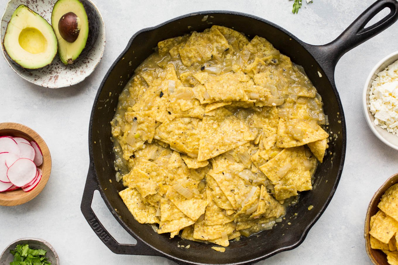 Chilaquiles Verdes with Fried Eggs (gluten-free) | saltedplains.com